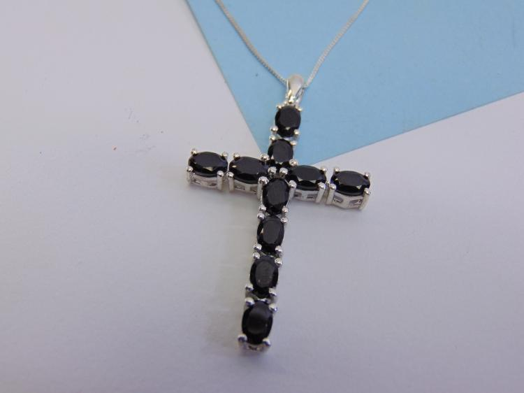 6.2g Sterling Silver Blue Sapphire Cross Necklace