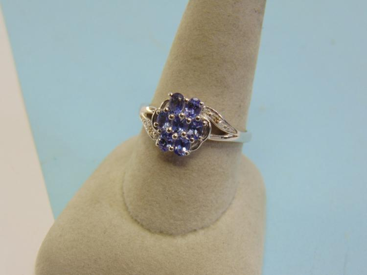 Lot 13: Sterling Silver Tanzanite Diamond Ring Size 10.5