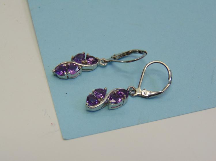 Sterling Silver Amethyst Pierced Ear Earrings