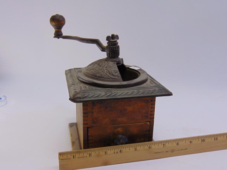 Lot 16: Vintage Metal & Wood Kitchen Coffee Grinder