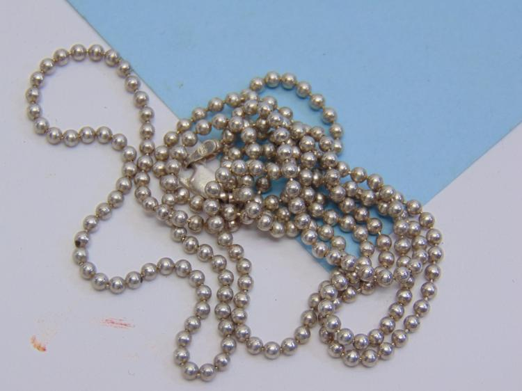 Lot 22: 12.6g Sterling Silver Bead Chain Necklace