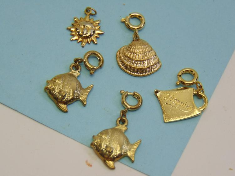 Assorted Goldtone Charm Lot Of 5