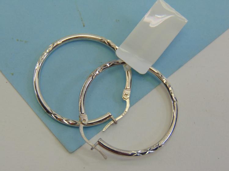 Modern Sterling Silver Ladies Hoop Earrings