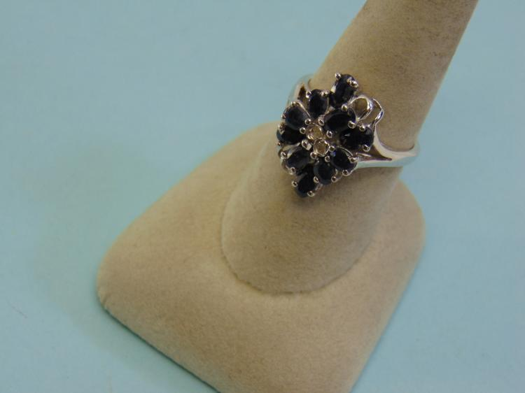 Sterling Silver Black Sapphire Ring Size 8