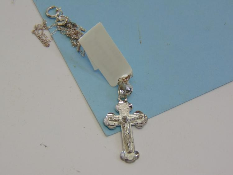 Modern Sterling Silver Cross Crucifix Necklace