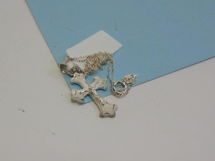 Sterling Silver Cross Crucifix Pendant Necklace