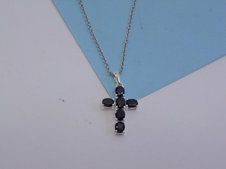 Sterling Silver Black Sapphire Cross Necklace