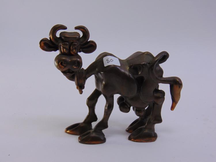 Vintage Metal Signed Skinny Cow Figurine