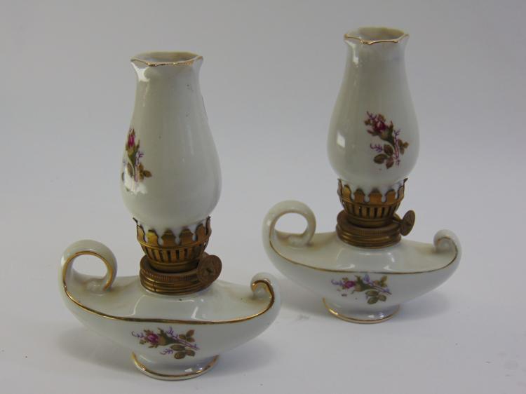 Vintage Delcoroado Porcelain Japan Made Oil Lamps