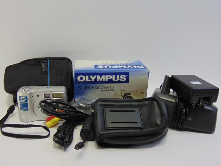 HP & Olympus Digital Cameras W/ Accessories Lot