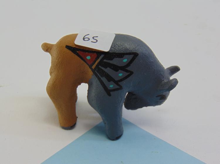 NM Navajo Painted Clay Buffalo Signed Figurine