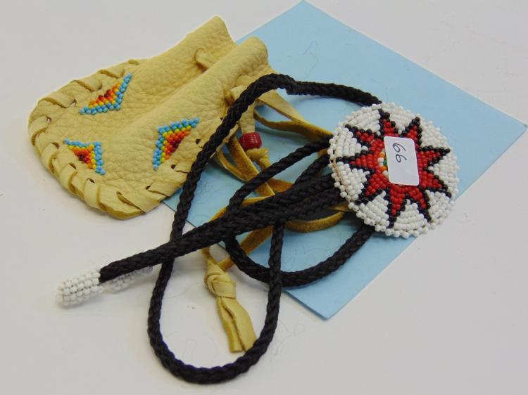 Native American Beaded Bolo Tie & Medicine Pouch