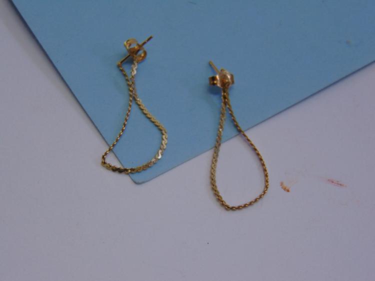 .8g 14K Gold Chain Loop Post Earrings