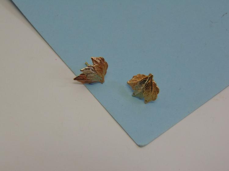 10K Black Hills Gold Leaves Post Earrings