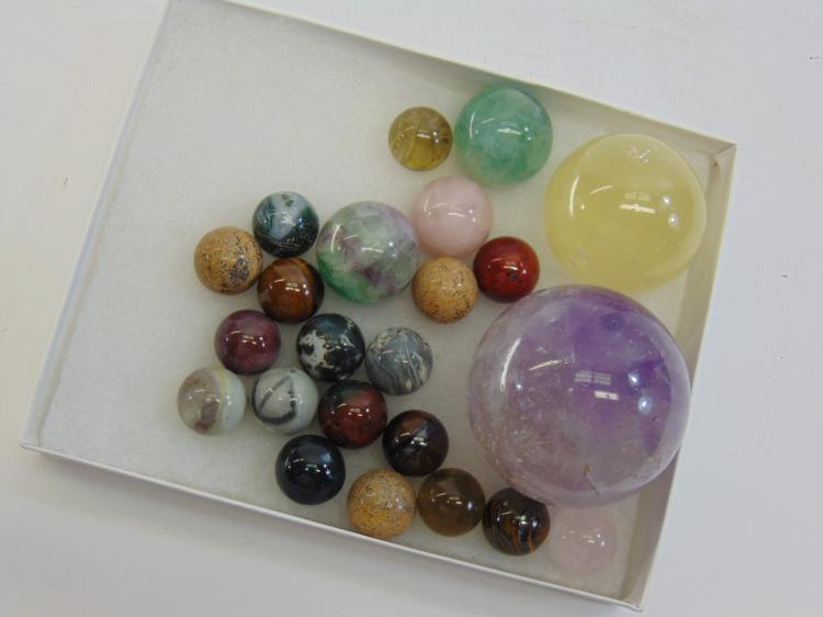 Natural Carved Stone Marble & Sphere Lot Of 23