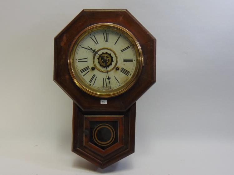 Antique Wood Key Wind Wall Pendulum Clock