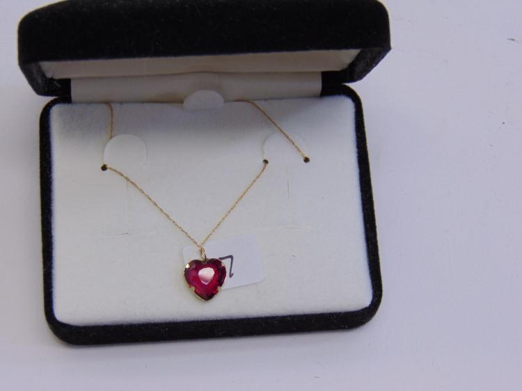 10K Gold Synthetic Ruby Heart Necklace