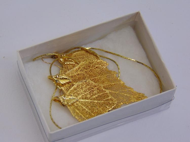 24K Gold Leaf Colorado Leaves Necklace Earring Set