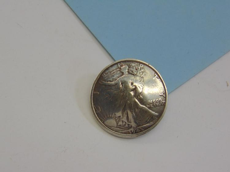 1943 Walking Liberty Silver Coin Belt Concho