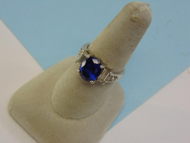 5.2g Sterling Silver CZ Synthetic Sapphire Ring S8