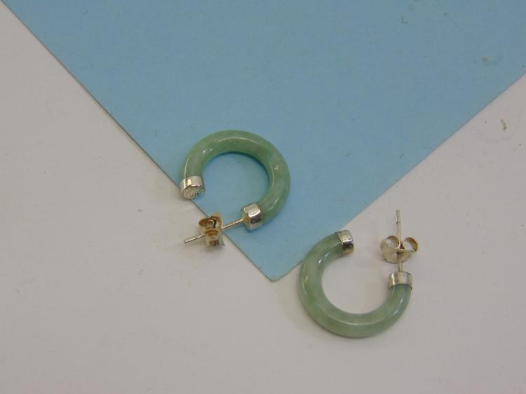 Sterling Silver Carved Jade Hoop Post Earrings