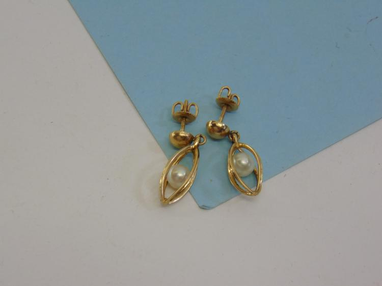 Vintage 3.1g 14K Gold Caged Pearl Post Earrings