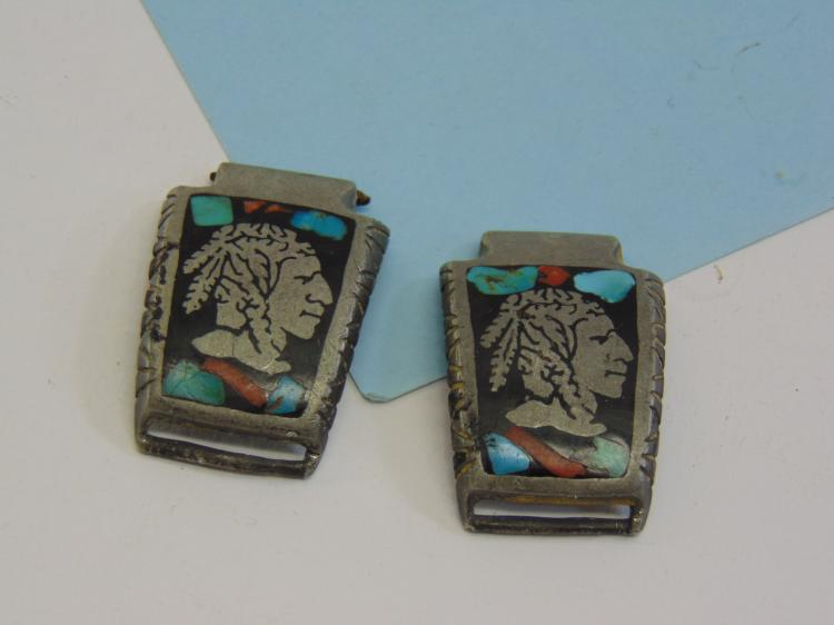 1977 Native American Signed RAM Inlaid Watch Tips