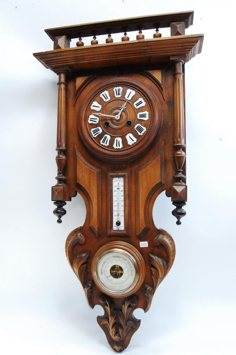 Vintage Carved Wood Key Wind Wall Clock