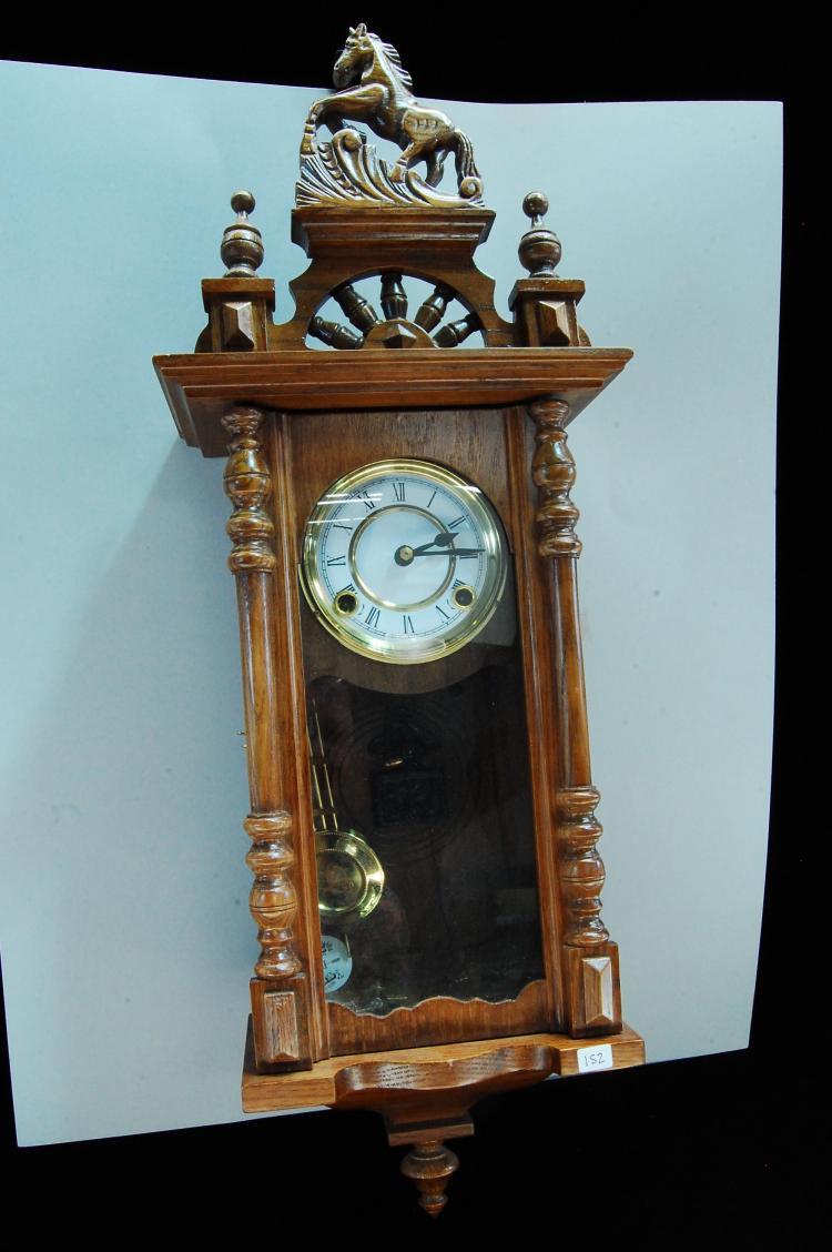 Vintage Carved Wood Pendulum Wall Clock