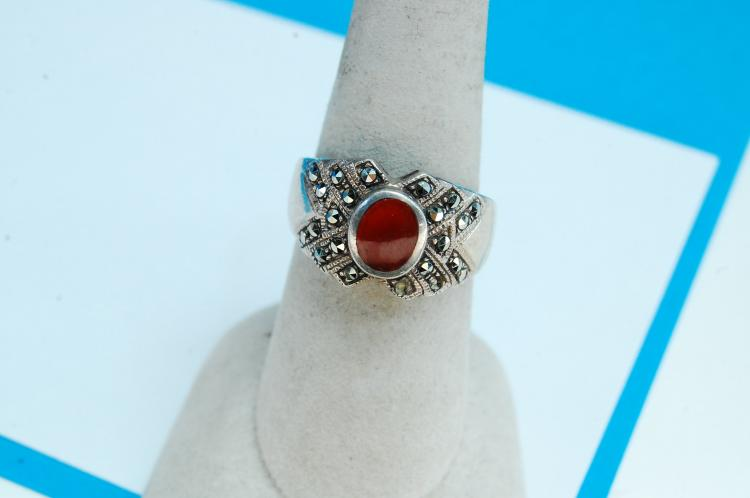 8g Sterling Carnalian Marcasite Ring Size 8