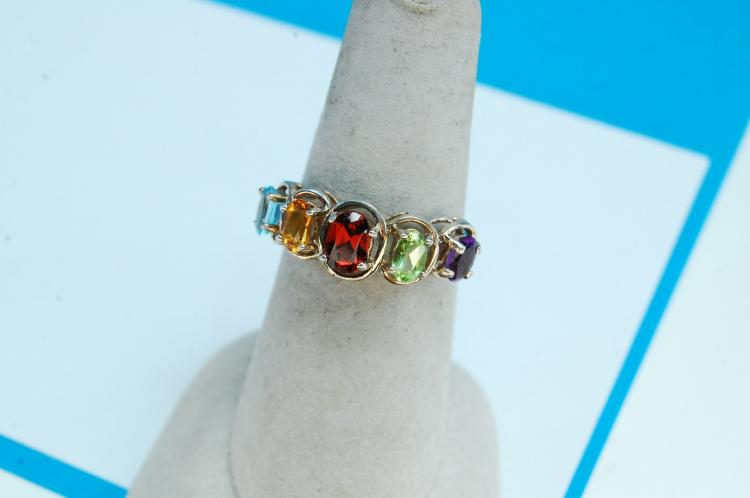 Sterling Silver Multi-Stone Ring Size 8