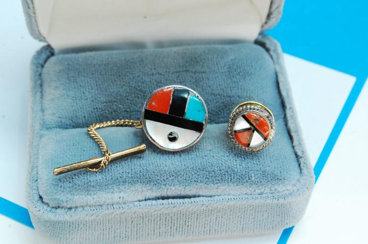 Sterling Silver Zuni Inlaid Sun Face Tie Pin Lot