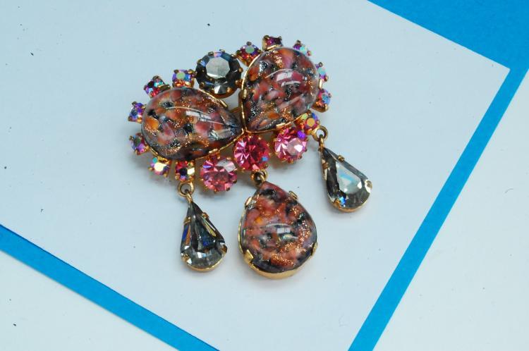 Austrian Made Costume Jewelry Brooch