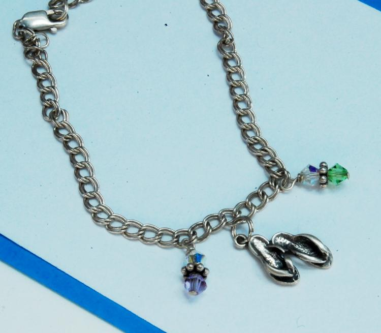 Sterling Silver Sandals Charm Chain Bracelet