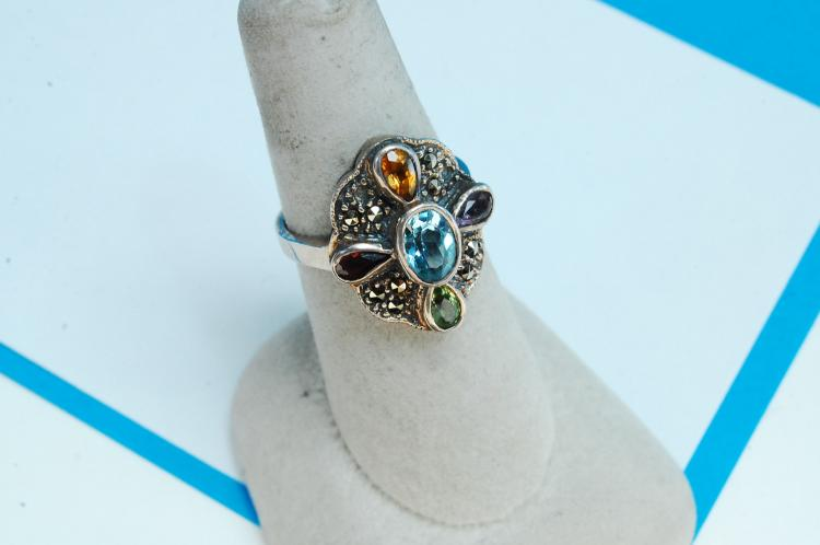Sterling Silver Multi-Stone Marcasite Ring Size 8
