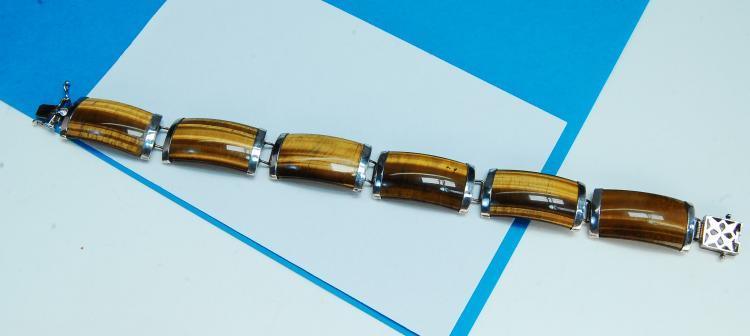 Sterling Silver Carved Tigers Eye Bracelet
