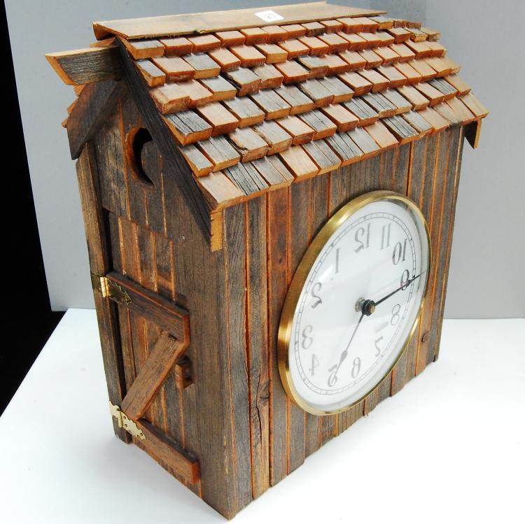 Vintage Wood Outhouse Reverse Wall Clock