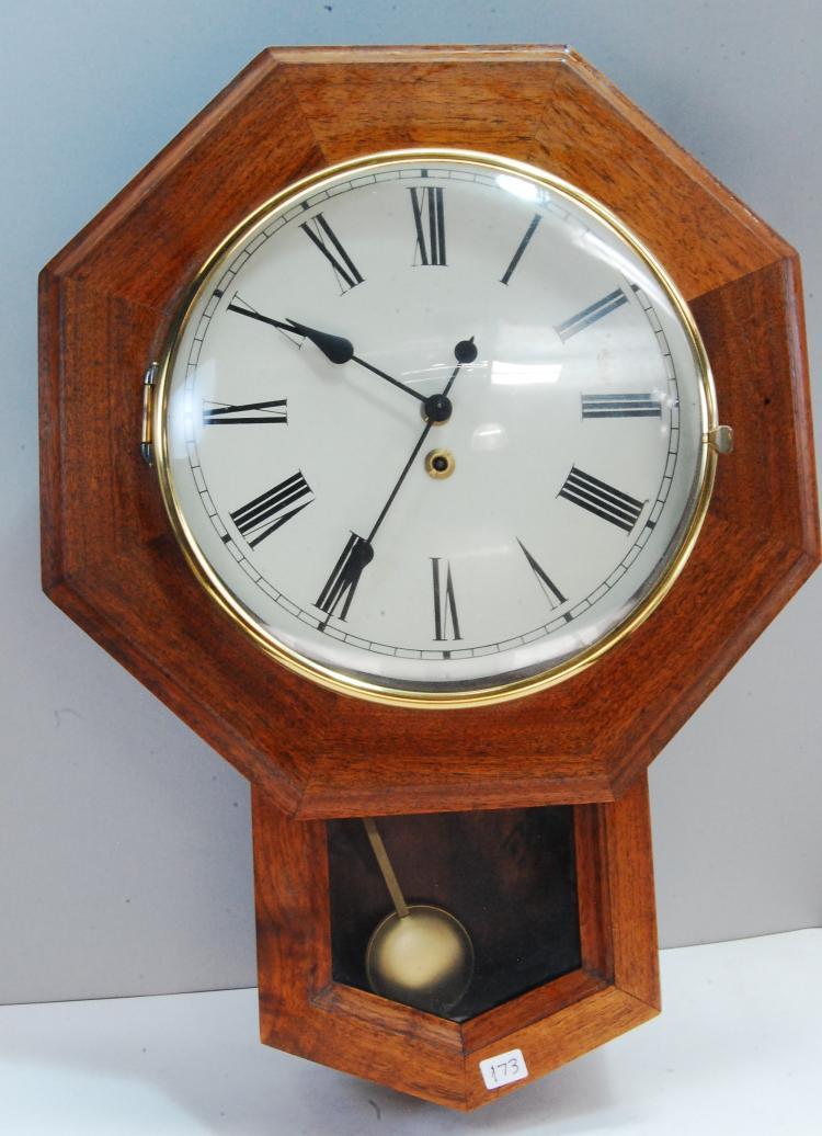 Vintage Wood Key Wind Pendulum Wall Clock