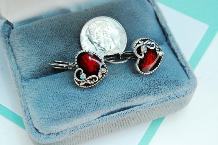 Sterling Silver Enamel Heart Clip-On Post Earrings