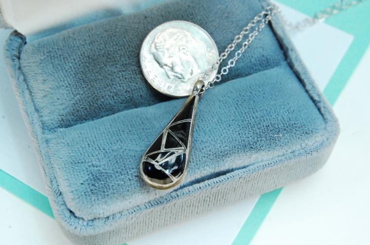 Sterling Silver Black Onyx Pendant Necklace