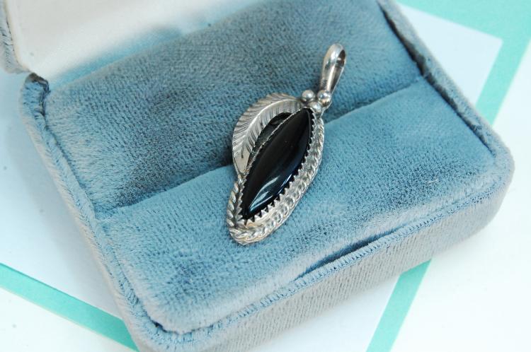 Vintage Sterling Silver Black Onyx Signed Pendant
