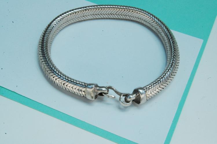 70g Sterling Silver Snake Style Chain Bracelet