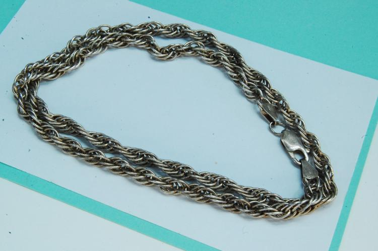 23g Sterling Silver Rope Style Chain Necklace