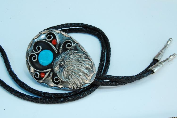 Native American Eagle Bolo Tie
