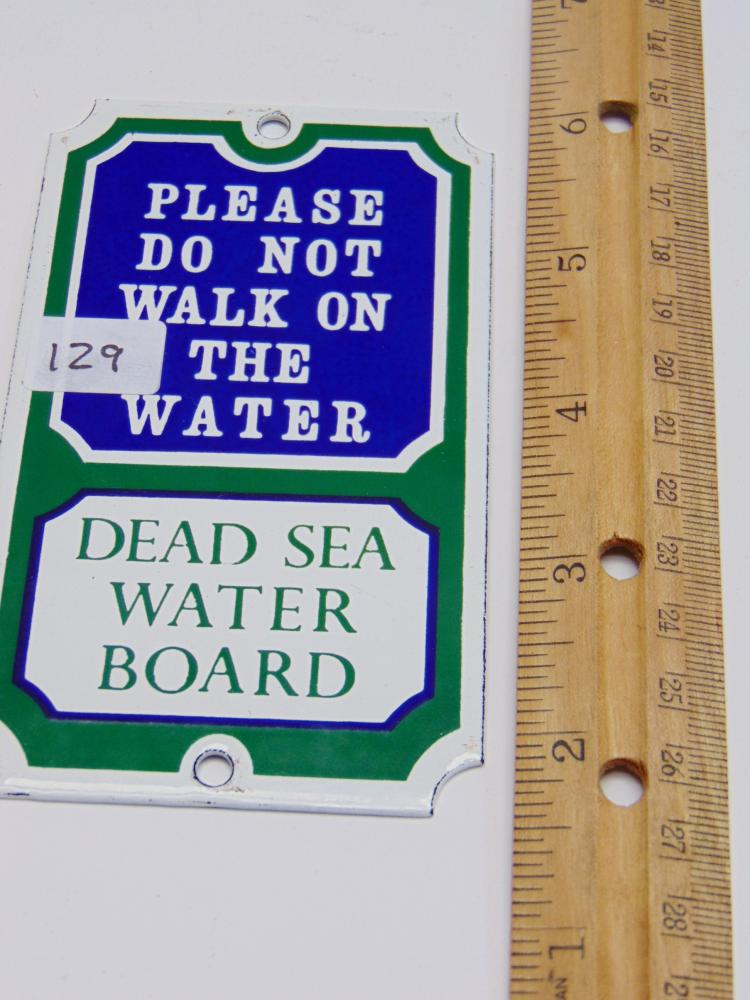 England Made Dead Sea Water Board Porcelain Sign