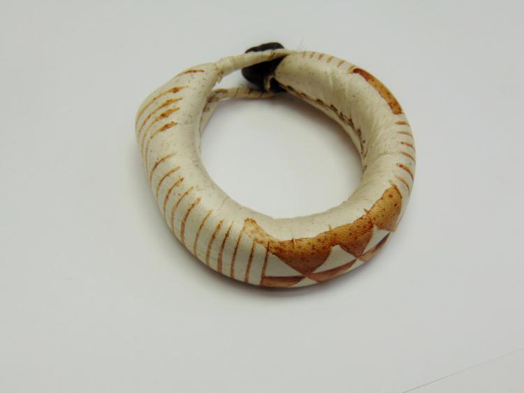 Vintage Hand Made Native American Leather Bracelet