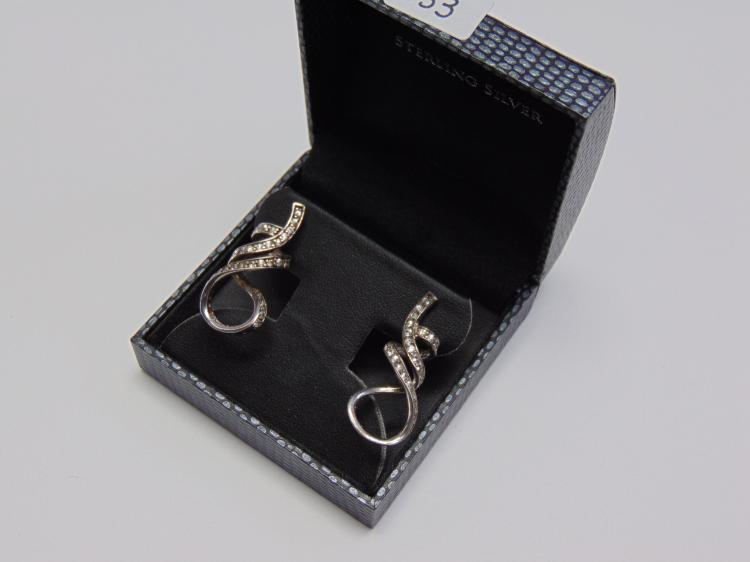 8.4g Sterling Silver Rhinestone Post Earrings