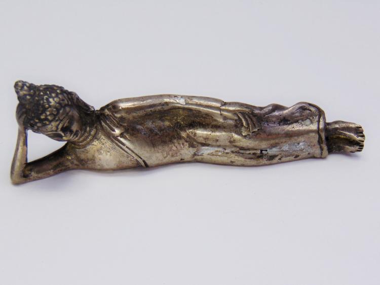 Vintage Nickel Silver Sm Reclining Buddha Figurine