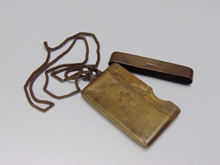 Antique Brass Match Book Container Necklace