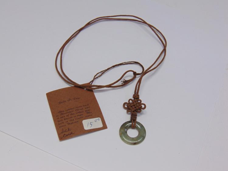 Matrix Magic Jade Pi Disc On Silk Cord Necklace